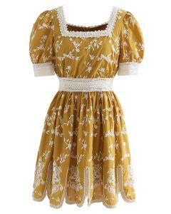Cutie Daisy Embroidered Square Neck Mini Dress in Mustard