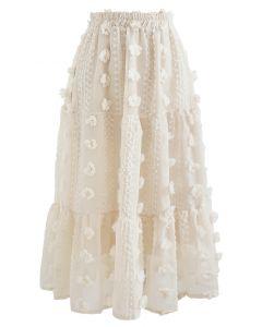 Cotton Flower Frill Hem Mesh Skirt in Cream