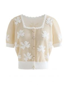 Embossed Butterfly Button Down Knit Cardigan in Cream