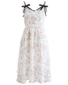 Applique Floret Mesh Cami Dress in Rose Print
