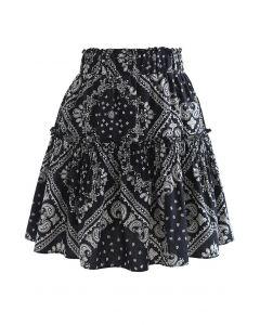 Paisley Frill Hem Mini Skirt in Black
