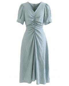 Embossed Diamond Ruched Midi Dress in Sage
