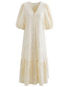 Button Down Bubble Sleeve Embroidered Dolly Dress in Light Yellow