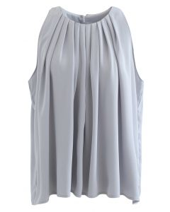 Frilly Sleeveless Flare Top in Dusty Blue