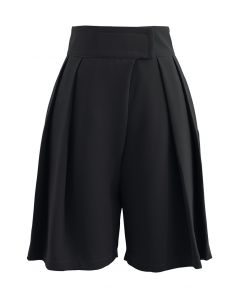 High-Rise Tab Waist Tailored Shorts in Black
