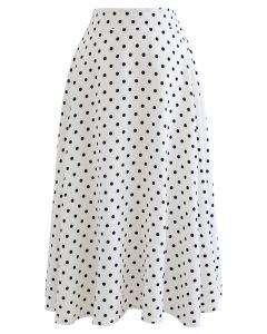 Dots Print Texture Line Flare Skirt in White