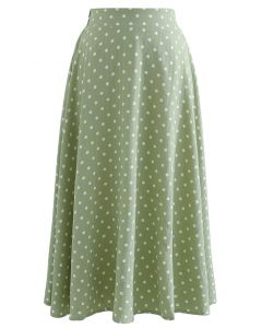Dots Print Texture Line Flare Skirt in Moss Green