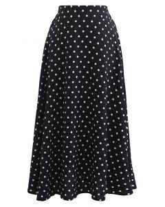 Dots Print Texture Line Flare Skirt in Black