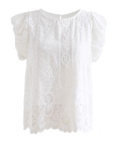 Embroidered Floral Short Sleeve Top in White