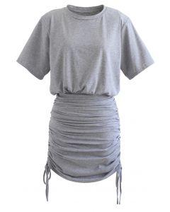 Pad Shoulder Crop Top and Drawstring Skirt Set in Grey