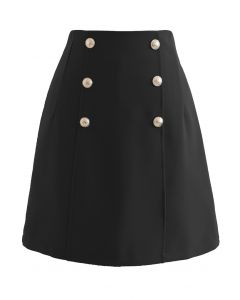 Golden Button Decorated Mini Bud Skirt in Black