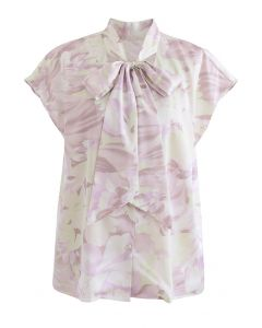 Watercolor Floral Tie Neck Buttoned Top in Lilac