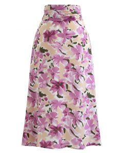 Plum Lily Print A-Line Midi Skirt