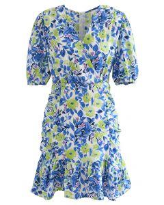 Flower Painting Padded Shoulder Mini Dress in Blue