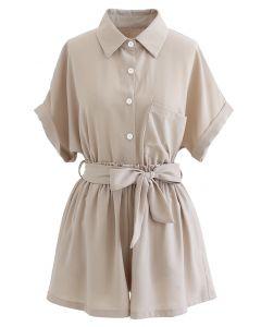 短袖鈕扣飾襯衫和蝴蝶結短褲套裝--褐灰色