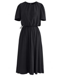 Drawstring Waist Cropped Top and Skirt Set in Black