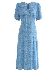 Pad Shoulder V-Neck Spot Printed Dress
