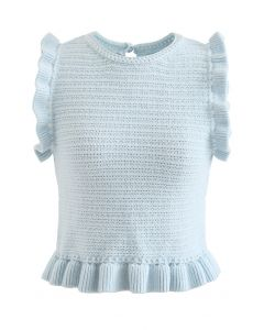Ruffle Decorated Sleeveless Crop Knit Top