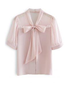 Sheer Spliced Tie Neck Buttoned Top in Pink