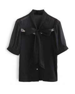Sheer Spliced Tie Neck Buttoned Top in Black