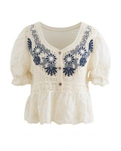Spliced Hollow-Out Embroidery Cropped Top