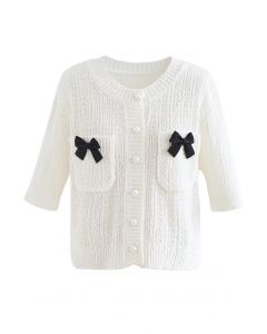 Bowknot Decorated Button Down Knit Cardigan in White