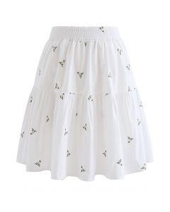 Floret Embroidered Frilling Mini Skirt in White