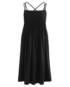 Cross Back Pintuck Front Cami Dress in Black