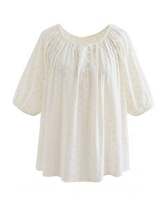 Embroidered Floret Cotton Top in Cream
