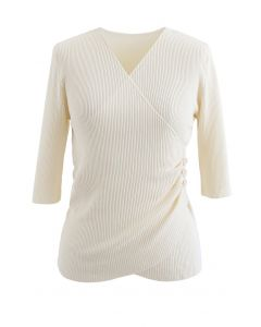 Side Button Wrapped Knit Top in Cream