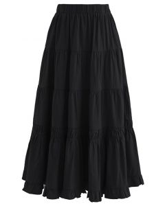 Solid Color Frilling Cotton Midi Skirt in Black