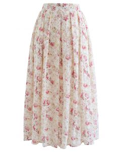 Pinky Floral Print Embroidered Eyelet Pleated Skirt