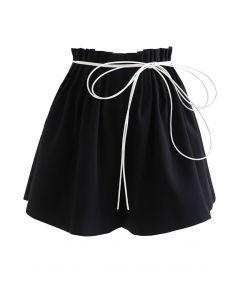 Ruched Waist Self-Tie String Shorts in Black