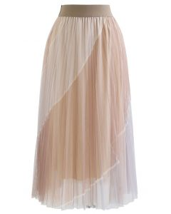 Double-Layered Color Block Mesh Tulle Midi Skirt in Caramel