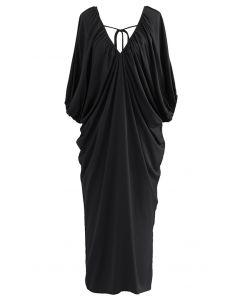 Dolman Sleeve Plunge Neck Midi Dress in Black