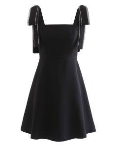 Bowknot Shoulder Crystal Edge Mini Dress in Black
