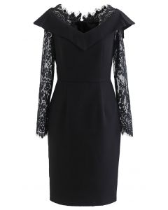 Lace Sleeves Bodycon Midi Dress in Black