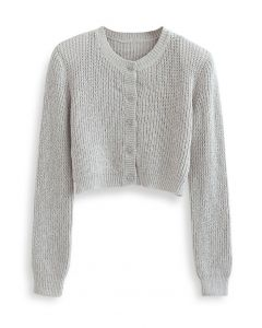Padded Shoulder Button Down Crop Knit Cardigan in Grey