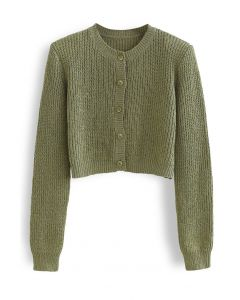 Padded Shoulder Button Down Crop Knit Cardigan in Moss Green