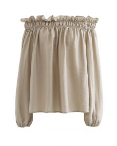 Ruffle Off-Shoulder Dolly Top in Sand