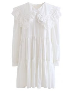 Peter Pan Collar Embroidered Mini Dolly Dress in White