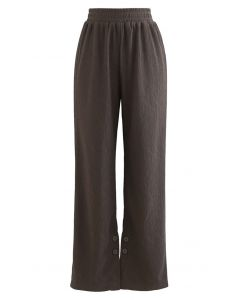 Buttoned Slit Cuffs Straight Leg Pants in Brown