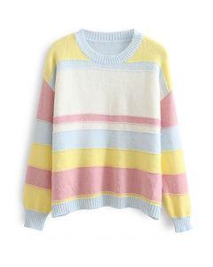 Rainbow Stripe Soft Knit Sweater