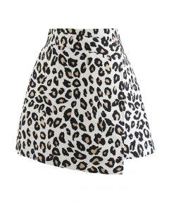 Stunning Leopard Jacquard Flap Mini Skirt
