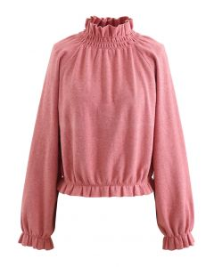 High Neck Ruffle Crop Knit Sweater in Coral