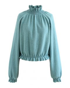 High Neck Ruffle Crop Knit Sweater in Teal