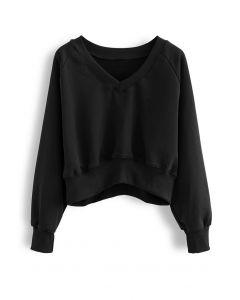 Cotton V-Neck Oversized Crop Sweatshirt in Black