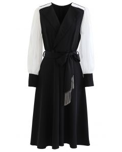 Contrast Color Sheer Sleeves Trench Coat Dress