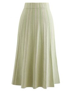 Dotted Pleated A-Line Midi Knit Skirt in Green