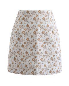 Floret Jacquard Mini Bud Skirt in Orange